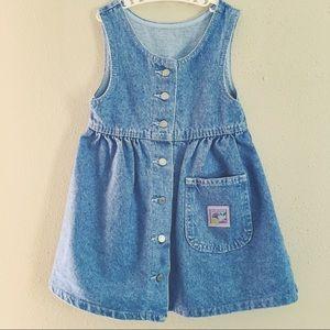 Vintage little girl jean jumper dress💞